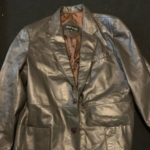 Daniel Young Brown 2 Button Leather Blazer Coat